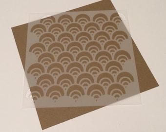 Square 5 inch stencil - Scallop