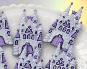 Castle Cabochon - 50mm Fairy Tale Castle Glitter Resin Flatback Cabochons - 3 pc set