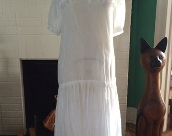 Vintage Gunne Sax Nautical Sailor Gatsby Flapper 80's 20's White Cotton Lace Trim Lawn Party Wedding Dress XS S Pleated Skirt Slip
