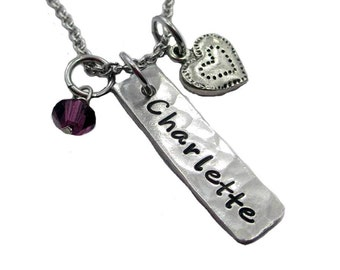 Name and Heart Charm Hand Stamped  Pewter Necklace