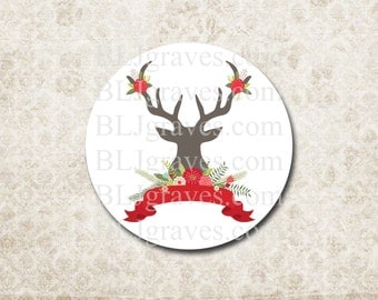 Christmas Deer Antler Stickers Holiday Envelope Seals Party Favor Treat Bag Stickers CS021