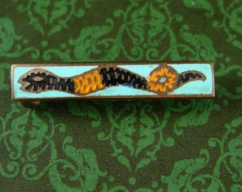 Cleopatra Snake Pin Brooch petite lapel cravat holder Vintage enamel art deco Serpent Mens womens accessory Antique estate jewelry