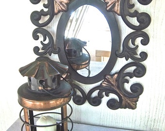Vintage Painted Black and Copper Tin Scroll Style Mirror and Votive Hanging Lantern Vintage Home and Living Metal Mirror Metal Lantern Set
