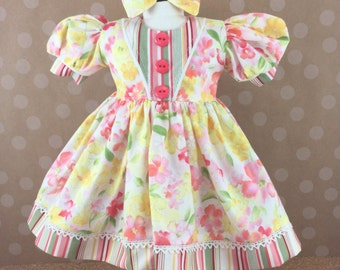 Fits American Girl Doll 18 Inch Dolls Short Sleeved Dress Watercolor Floral in Yellow, Coral, and Green and Stripes Dress Matching Hair Bow