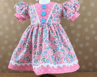 Fits American Girl Doll 18 Inch Dolls Short Sleeved Dress Pink and Blue Flowers and Coordinating Dots Matching Hair Bow