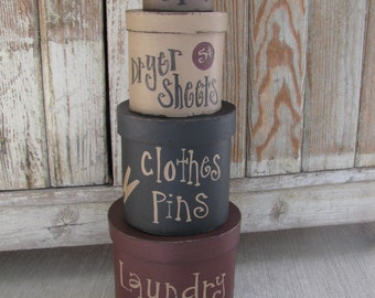 Primitive Laundry Room Set of 4 Round Stacking Boxes GCC2819