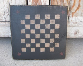 Primitive Black Checker Game Board with Burgundy Stars Hand Stenciled GCC5803