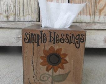 Primitive Sunflower Hand Painted Tissue Box Cover GCC6199