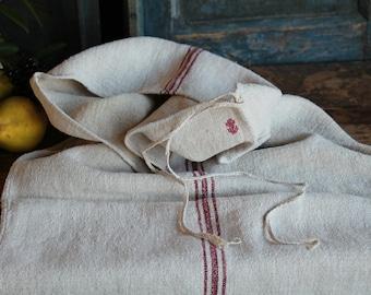 Nr. A362: grainsack,  antique linen; DEEP RED pillow benchcushion; 41.73 long;  wedding decoration; christmas, thanksgiving