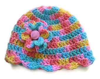 Ready To Ship - Crocheted Baby Girl Hat Sherbert Colors  - Newborn Baby Hat - Crochet Pink Blue Yellow Baby Girl Hat- Size 0 to 3 Months