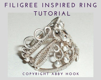 Filigree Inspired Ring, Wire Jewelry Tutorial, PDF File instant download