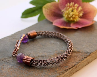 Viking knit bracelet - Copper wire and Amethyst