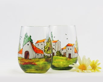 Tuscany wine glasses - Hand painted stemless wine glasses  - Village Provencal collection - Set of 2