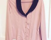Pink top with faux fur trim, size medium large