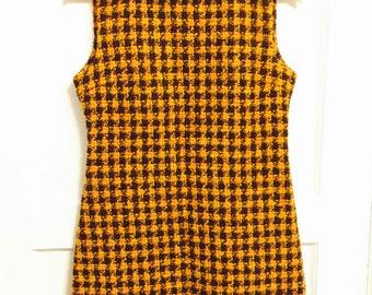 Vintage plaid wool knit orange black shirt dress