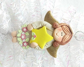 Personalized Angel Christmas Ornament - Baby's First Christmas - Polymer Clay Angel Ornament - Angel Collector Ornament -  8108