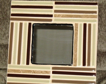 SALE - Stone, Brown, and Lime Square Mosaic Mirror