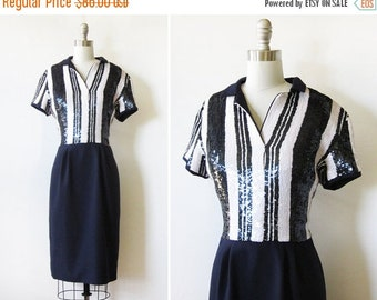 5O% OFF SALE navy sequin dress, vintage 70s sequin silk dress, medium 70s striped sequin dress