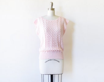 pink sweater, vintage 80s pastel pink short sleeve sweater, medium pink pointelle sweater