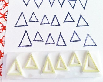 triangle pattern stamp. geometric hand carved rubber stamp. edge border stamp. background stamp. 6 triangles. scrapbooking. gift wrapping
