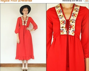ON SALE Vintage 70's Rare Gunne sax Embroidered Floral Paririe Hippie Boho Tiered Red Maxi dress XS S