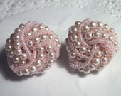 Pink Pearl Pierced Earrings Beaded Retro Costume Jewelry Goldtone