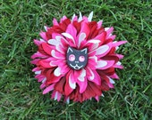 Black Cat Skull Flower in Pink/White/Red