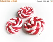 ON SALE 3 Red and white Lollipop Charm Pendants