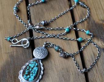 Sterling Turquoise Necklace, Oxidised Sterling Silver Statement Pendant, Long Gemstone Metalwork Necklace