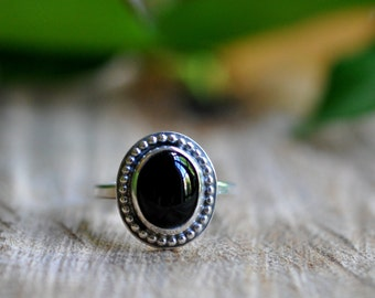 Sterling Black Onyx Stacking Ring, Oxidised, Sterling Silver Gemstone Ring - Candy Ring in Black