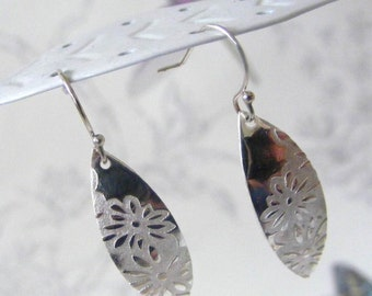Fine Silver Embossed Leaf Earrings