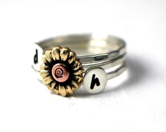 Initial Rings, Sunflower Ring, Sunflower Stack Ring, Sweetheart Rings, Personalized Rings, Mothers Rings, Flower Ring, Sterling Silver Ring