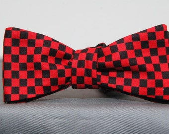 Red and Black Checked Bow Tie