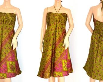 Sari dress, sari halter dress,bohemian dress,party dress,blue sari dress, summer dress,midi dress, dress,sari,halter dress,hippie- Last one
