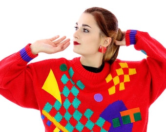 80s New Wave Sweater Bright Shapes 1980s Colorblocked Espirt Pullover Oversized Indie Punk Retro Winter Warm Cute Medium M Large L