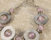 Pink and Gray Mother of Pearl Shell Disc Bracelet