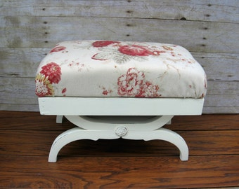 Waverly Norfolk Rose Vintage Wood Footstool, Ottoman, Foot Rest Shabby Farmhouse Decor Foot Stool