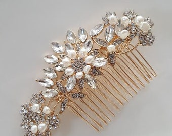 Gold Bridal Hair Comb, Crystal and Freshwater Pearl Wedding Comb, Wedding Hair Comb