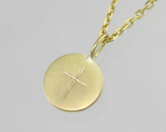 Stamped Cross Disc Necklace, Lrg. 14K (Made to Order)