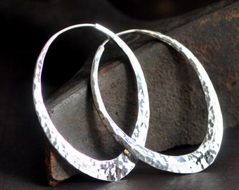 2 inch oval sterling silver hoops,  ellipse hoops,  hammered earrings, wide endless style loop, eco friendly
