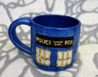 SALE Gilded Police Box Mug: 10 oz Tardis Cup with gold details