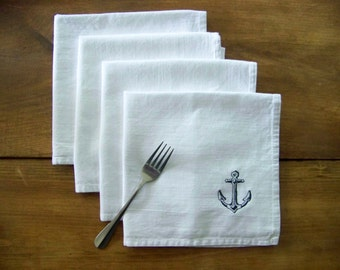 free shipping - set of 4 anchor napkins / navy / summer / ocean / embroidery / white cotton / 100% cotton / bar / kitchen /