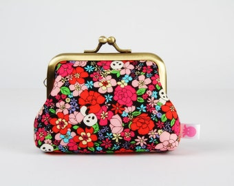 Metal frame change purse - Tiny pandas and flowers in red - Big mum / Kawaii japanese fabric / cute panda / pink green turquoise black