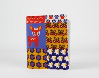 Big fabric card holder -  Cute deer in floral patchwork / 40 slots / Kawaii japanese fabric / orange ochre red blue / Flowers hearts dots