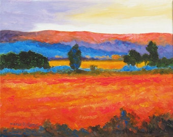 Bright Crimson Fields, Original Oil Painting , Modern Fauvist Landscape, Contemporary Colors, Modern Wall Decor, Colorful Summer Field, 8x10