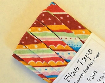 "Bias Tape - 4 yds of 1/2"" Double Fold - Multi Color Stripes and Dots"