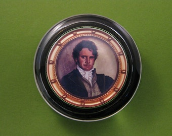 Gold Framed Mr. Darcy Portrait from Jane Austen's Pride and Prejudice Glass Round Paperweight Regency Home Decor