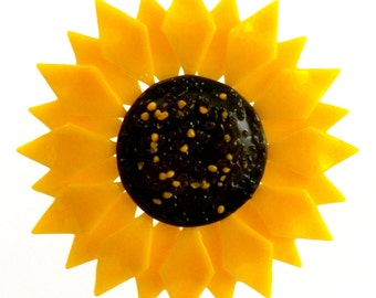 Kiln-fired Fused Glass Yellow Sunflower Flower Ornament / Suncatcher