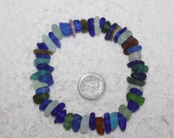 BEAUTIFUL BEACH GLASS Genuine small Center Drilled Sea Glass Beads 50 Colorful Jewels of the Ocean zy115
