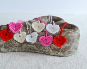 8 Hand Crochet Heart Motifs, Heart Appliques, Crochet Embelllishments